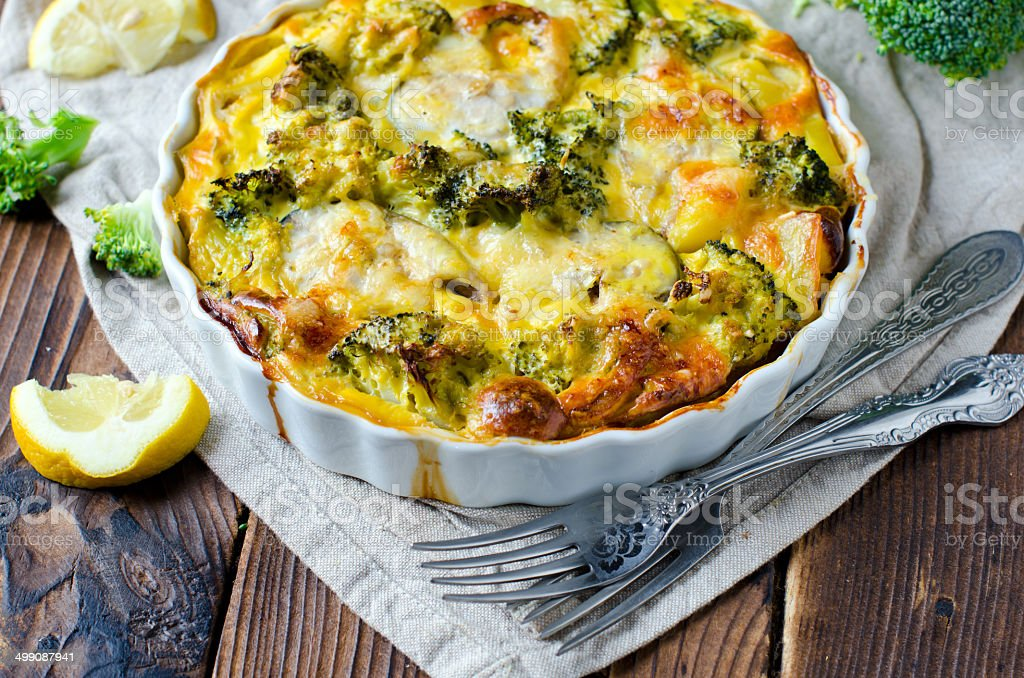 Casserole with broccoli and fish stock photo