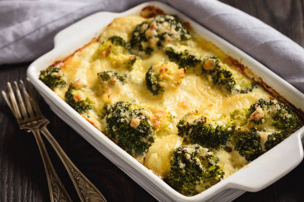 Casserole with broccoli, potatoes, eggs and cheese. stock photo