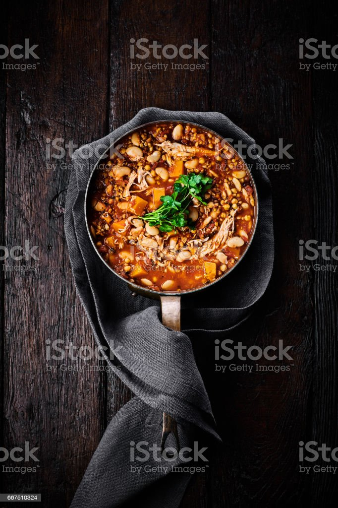 Casserole with chicken in a pan stock photo
