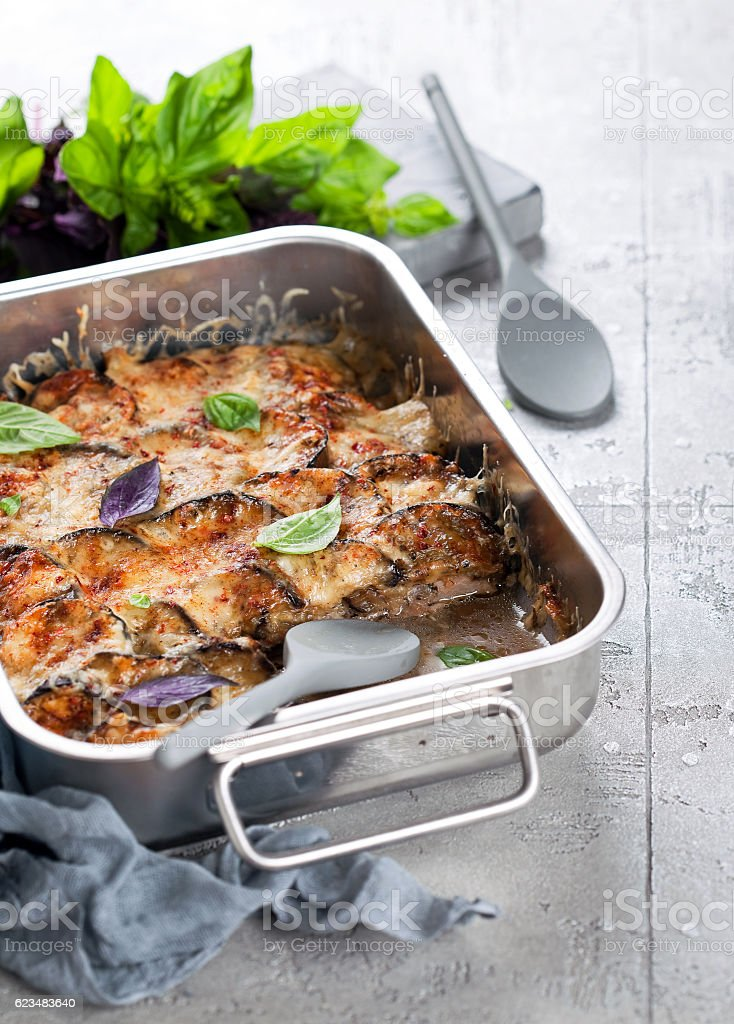 Casserole with meat, eggplant and cheese stock photo
