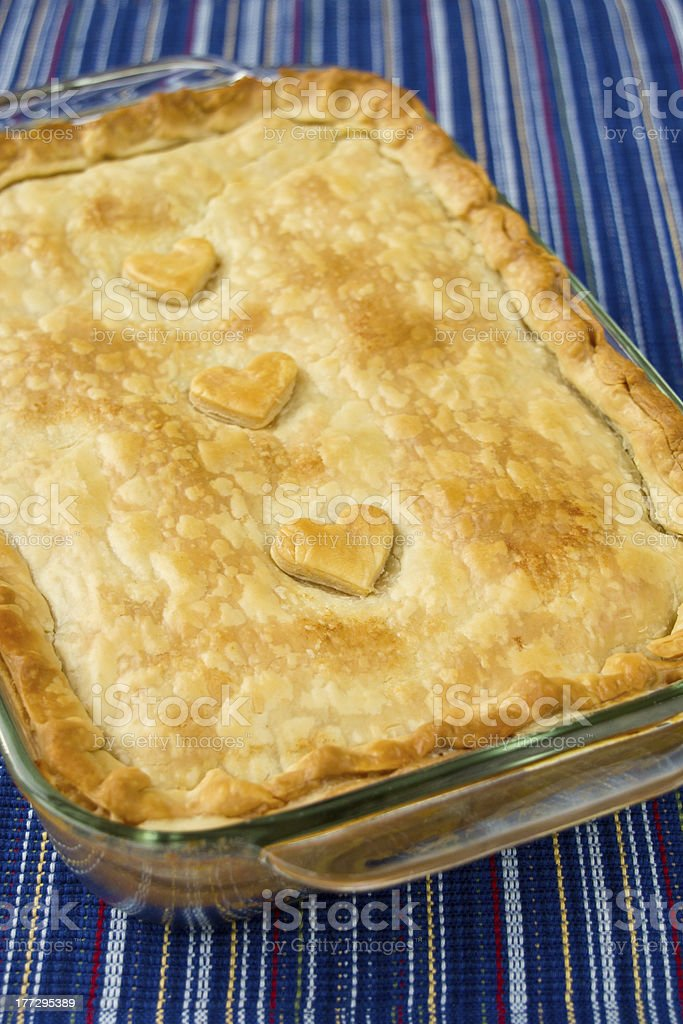 Casserole with Pastry Hearts stock photo