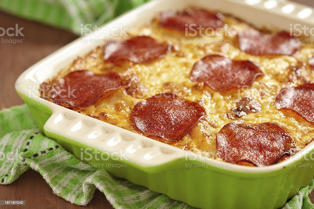 Casserole with pepperoni royalty-free stock photo