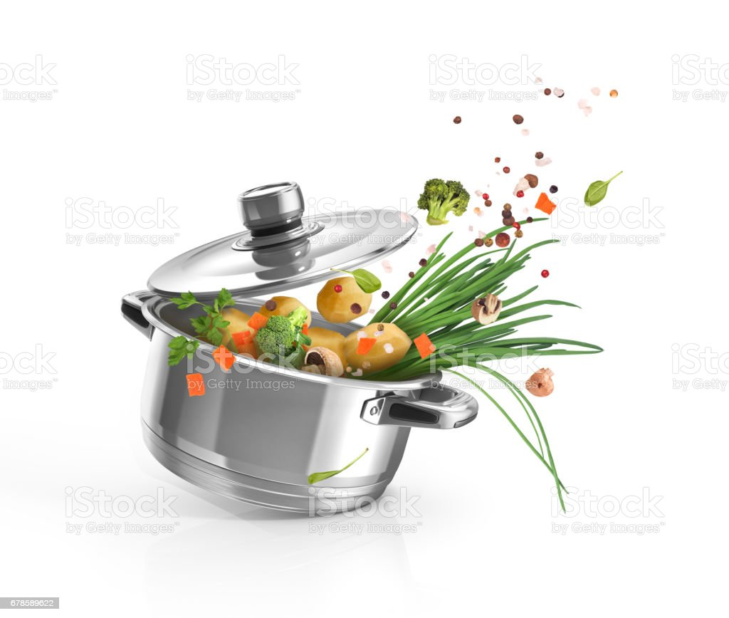 Casserole with vegetables on white background stock photo