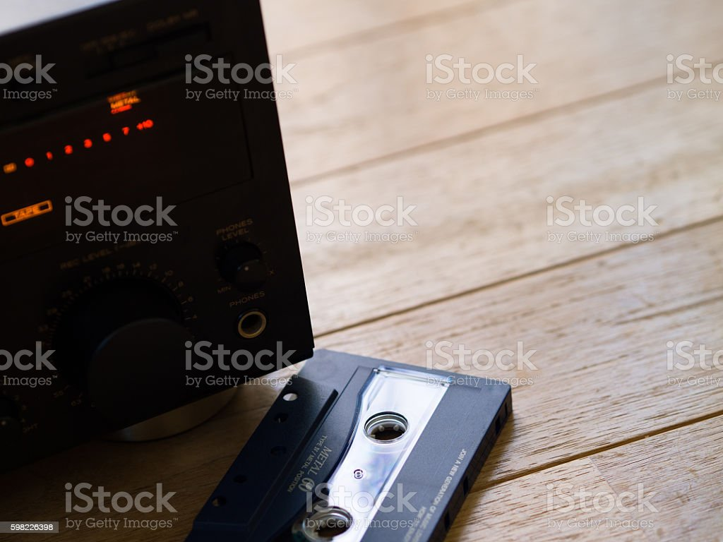 Cassette deck and cassette tape foto royalty-free