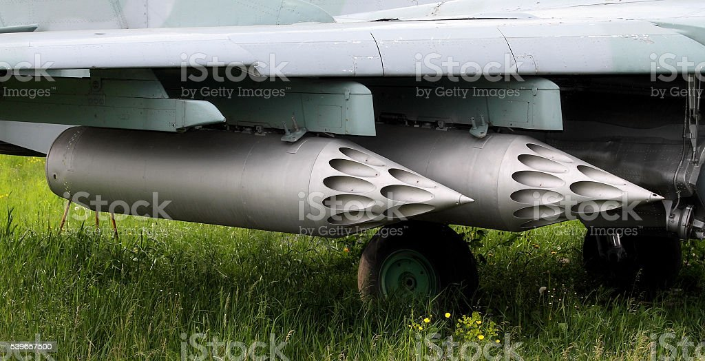 Cassette of rocket launcher on the fighter wing stock photo