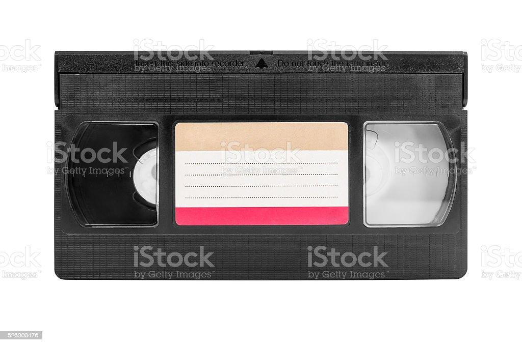 VHS cassette on white background stock photo