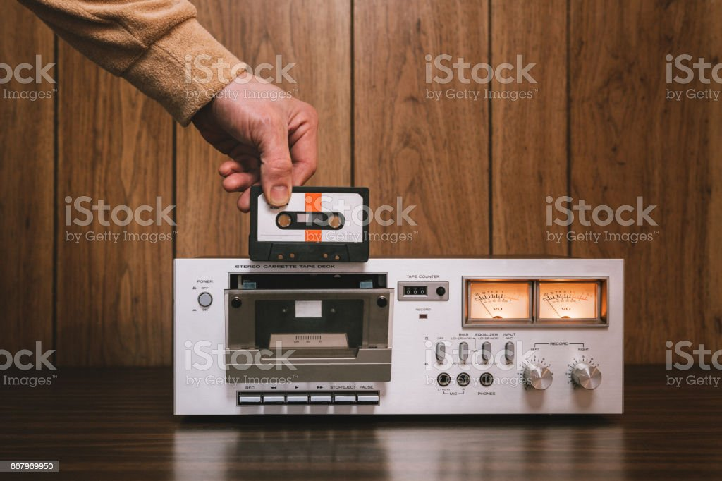 Cassette Player Stereo in Retro Style stock photo
