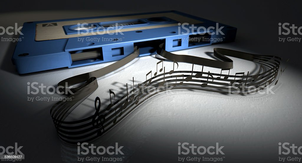 Cassette Tape And Musical Notes Concept stock photo