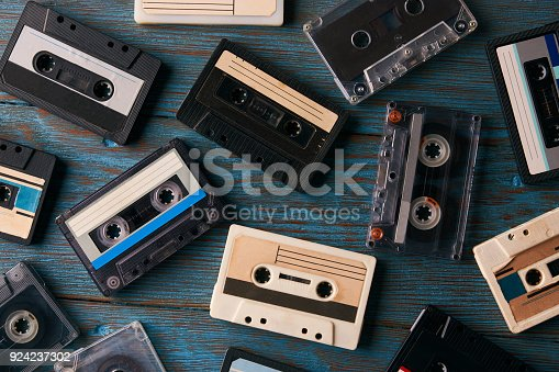 istock Cassette tape background, top view 924237302