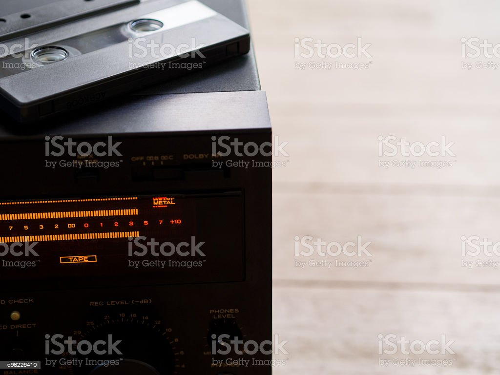 Cassette tape on the tape deck foto royalty-free