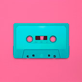 Nostalgic image of a cassette tape, isolated and presented in punchy pastel colors, blank for creative customization