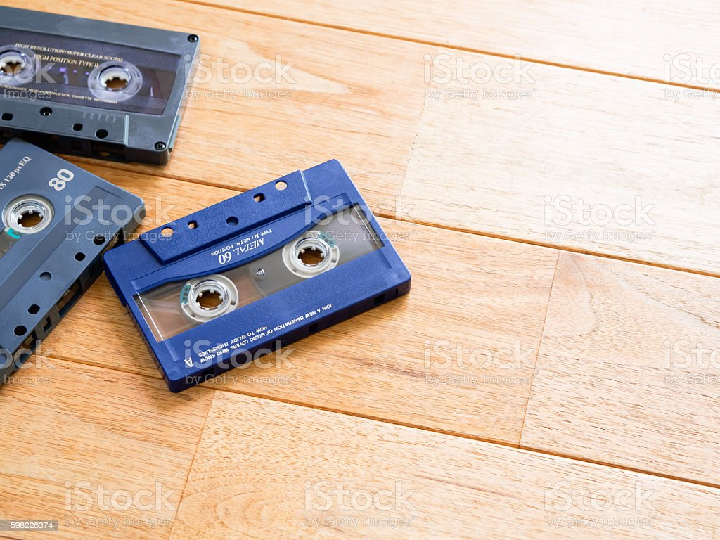 Cassette tape placed on the left side of the flooring foto royalty-free
