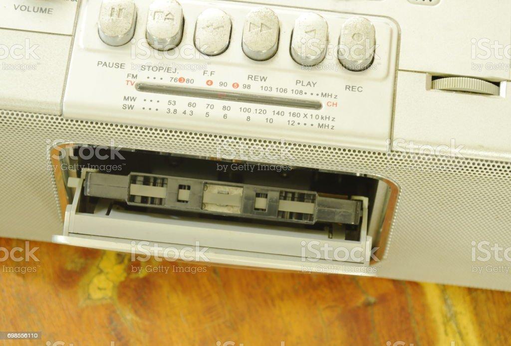 cassette tape recorder in radio desk stock photo