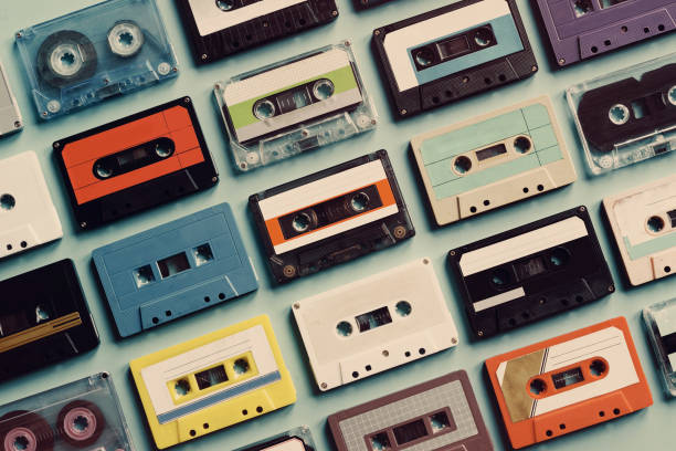 Cassette tape vintage style collection Cassette tape vintage style collection audio cassette stock pictures, royalty-free photos & images