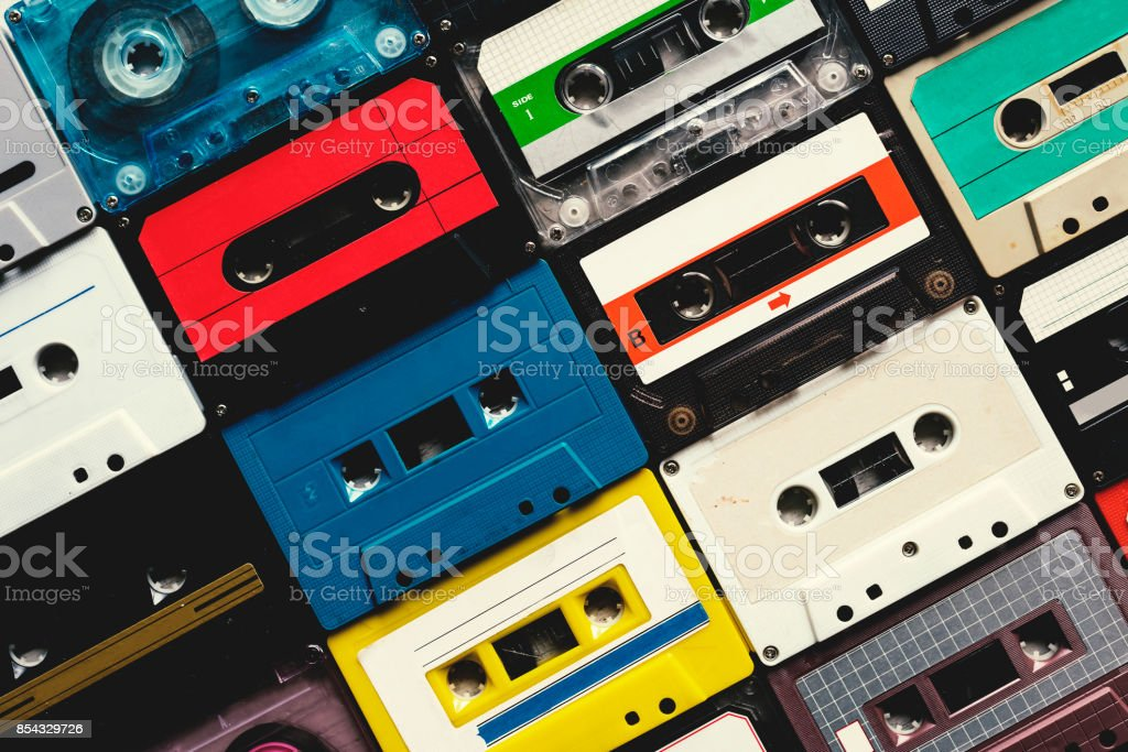 Cassette tape vintage style collection stock photo