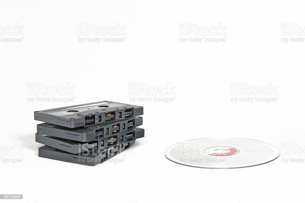 Kassetten vs CDs Lizenzfreies stock-foto