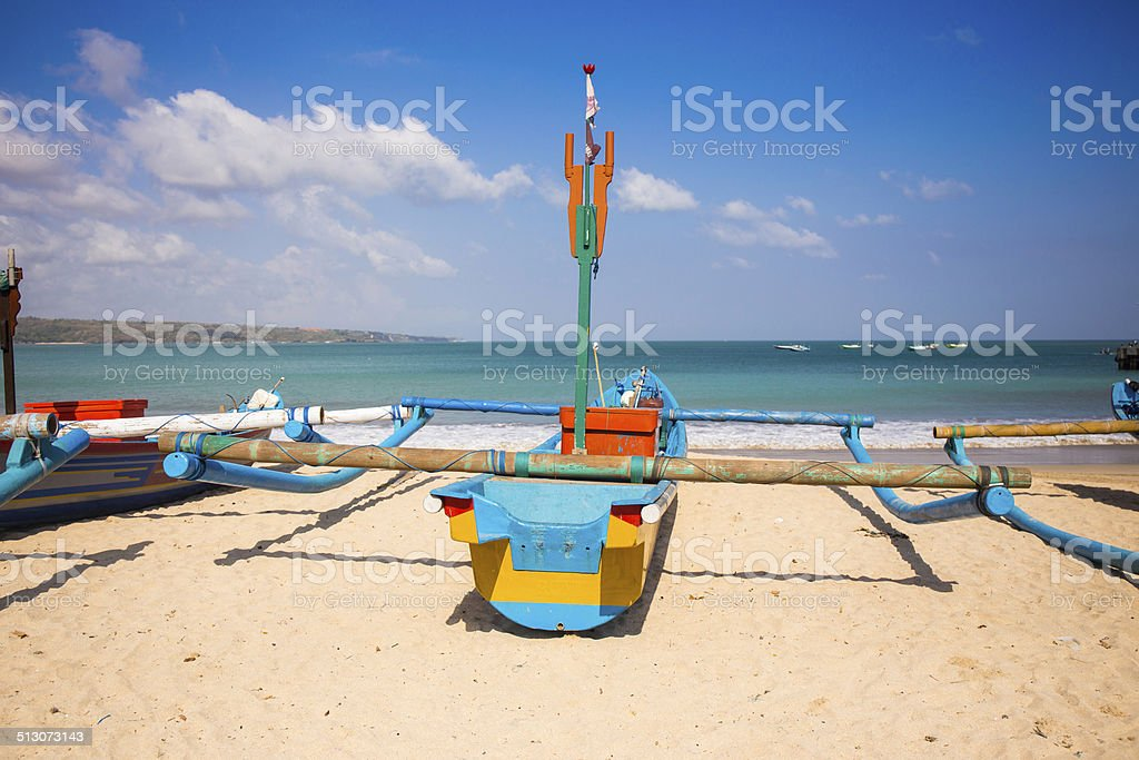 Cassical fishing boat and Indian Ocean in the background stock photo