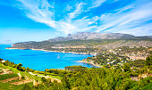 Cassis bay and sea in French Riviera from route des cretes scenic road. Cote Azur, Provence, France, Europe.