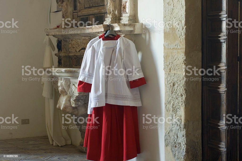 Cassock for altar boy stock photo