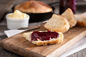 Homemade Cast Iron Skillet Bread with Butter and Raspberry Jam