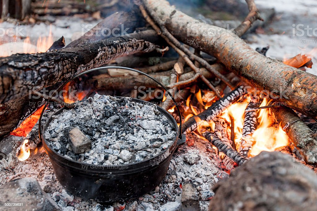 Cast Iron Campfire stock photo