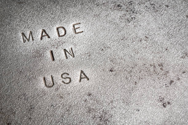 Cast Iron Embossed with Made In USA stock photo stock photo