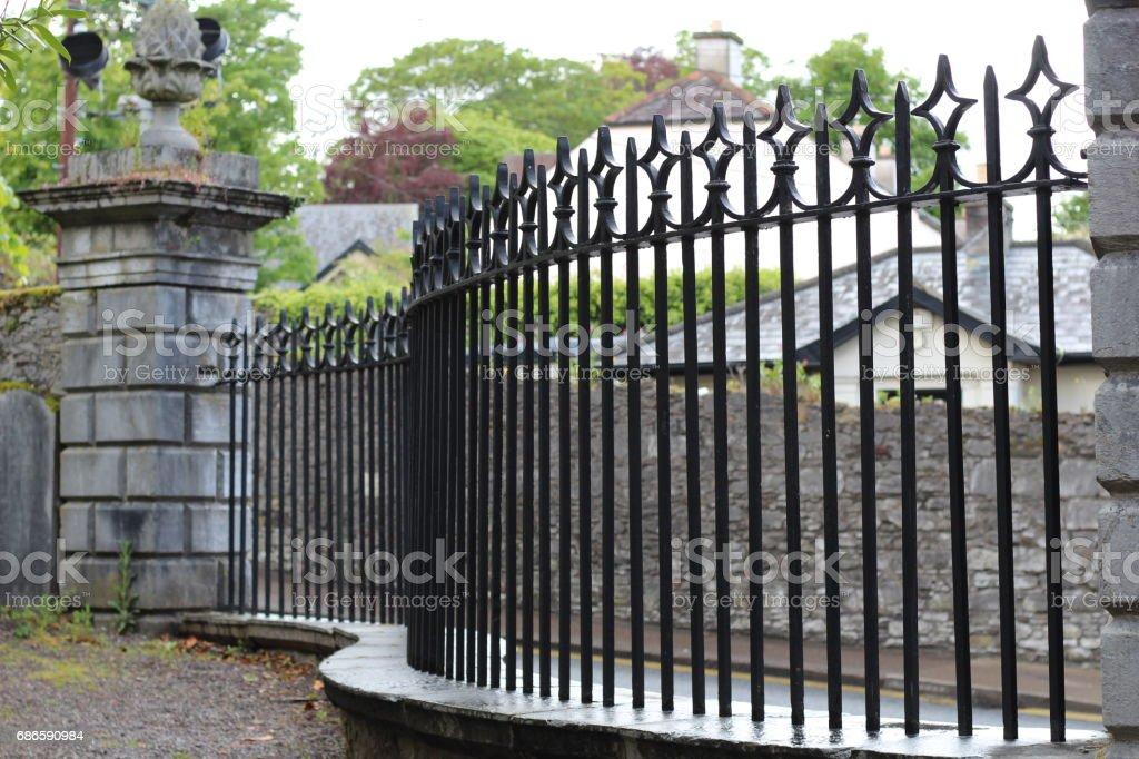 Cast Iron fence at Saint Fin Barre's Cathedral, Cork City, Ireland photo libre de droits