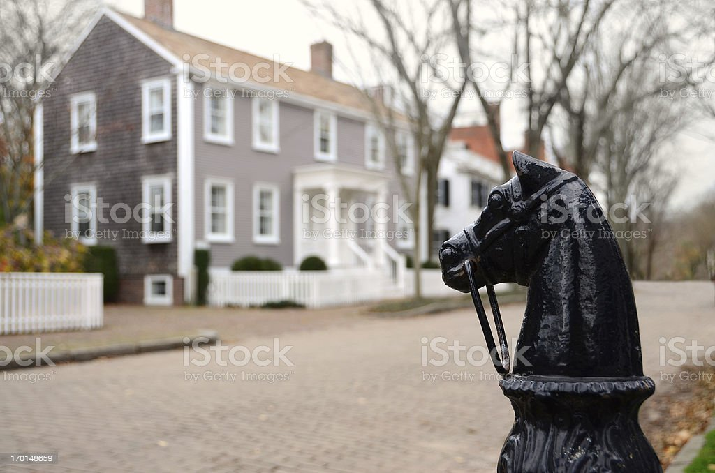 Cast Iron Hitching Post in Nantucket stock photo