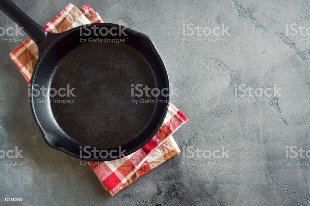 Cast iron pan on black background stock photo