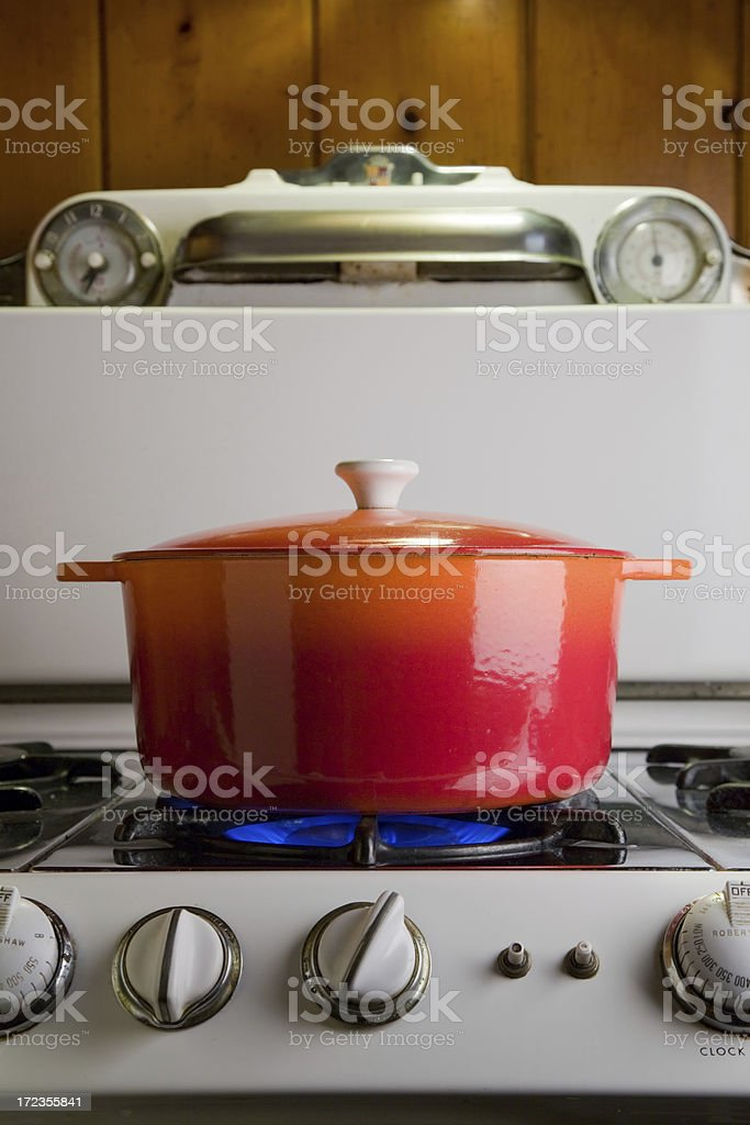 cast iron pot on stove royalty-free stock photo