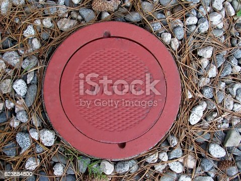 Cast iron red cover for water utility access