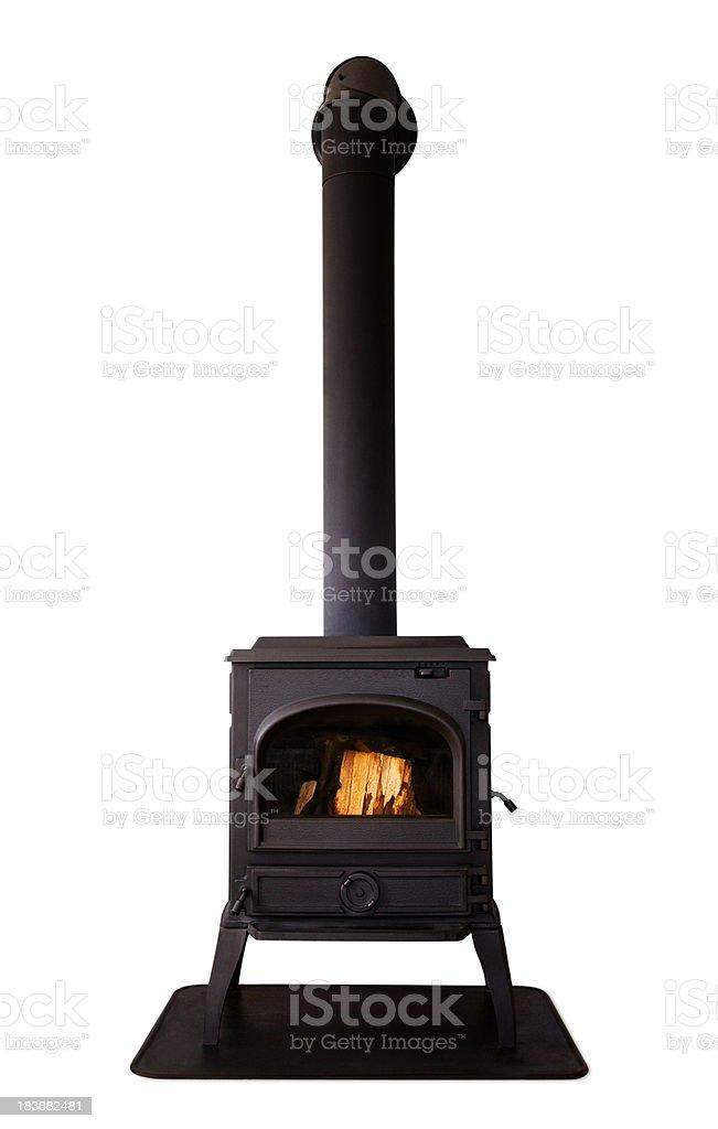 Cast iron stove isolated on white background stock photo