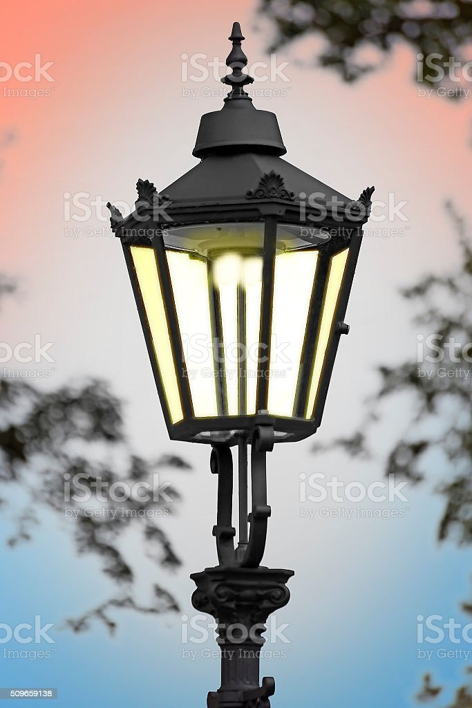 Cast iron street lamp stock photo