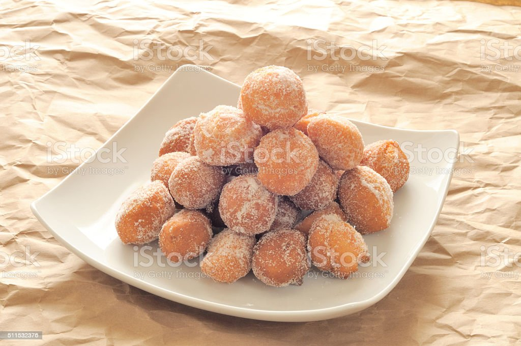 castagnole, typical Italian fritters carnival period stock photo