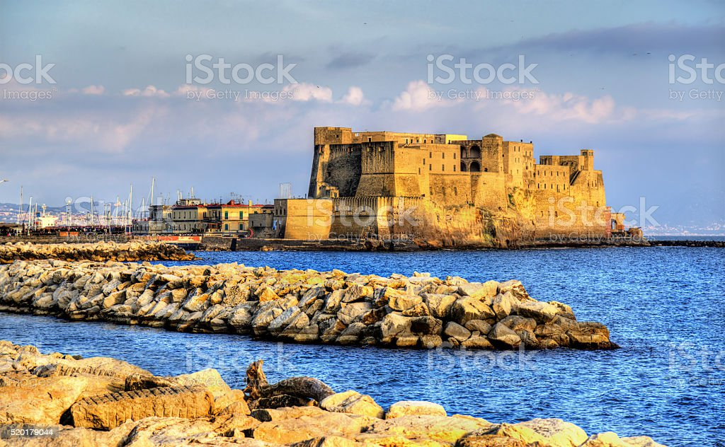 Castel dell'Ovo, a medieval fortress in the bay of stock photo