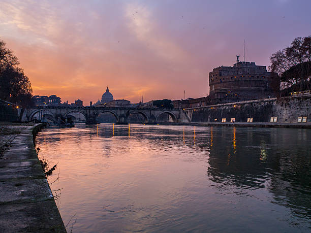 Castel S. Angelo and the tevere river stock photo