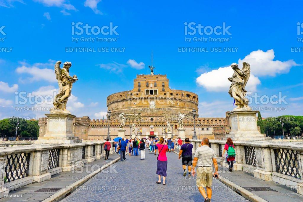 Castel Sant'Angelo and Aelian Bridge across Tiber River in Rome stock photo