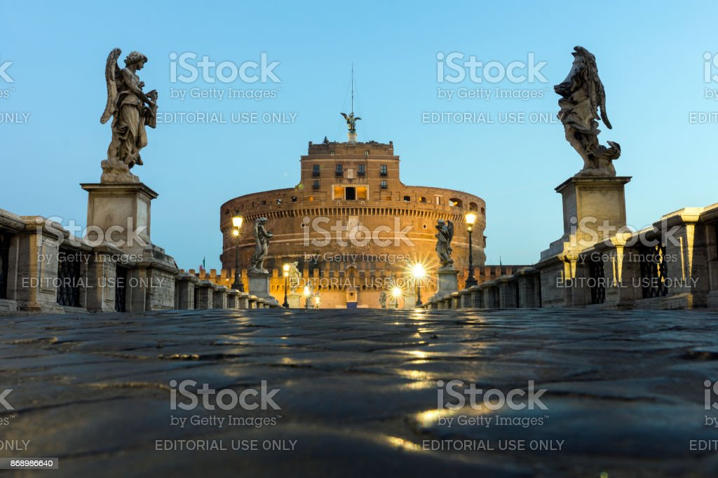 Castel Sant'Angelo and Ponte Sant'Angelo in Rome stock photo