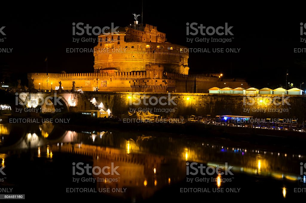 Castel Sant'Angelo in Rome by night stock photo