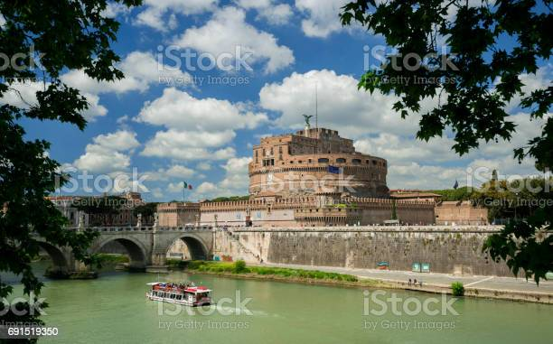 Rome, Italy - April 24, 2017: Castel Sant'Angelo (Castle of the Holy Angel) in Rome, a very famous city landmark with Tiber River