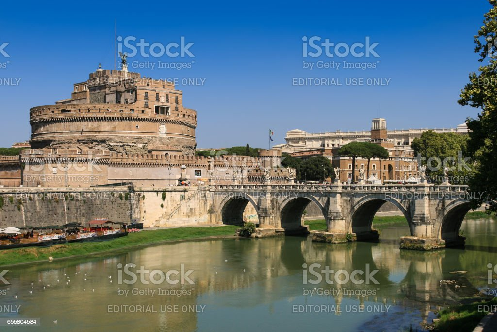 Castel Sant'Angelo, Ponte Sant'Angelo and Tiber, Rome, Italy. stock photo