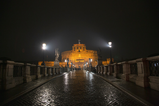 Castel Sant'Angelo seen from Sant'Angelo Bridge at night, Rome, Italy