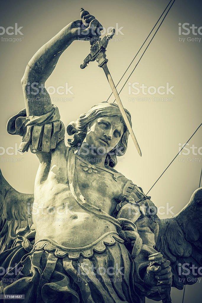 Castel Sant'Angelo St. Michael Statue stock photo