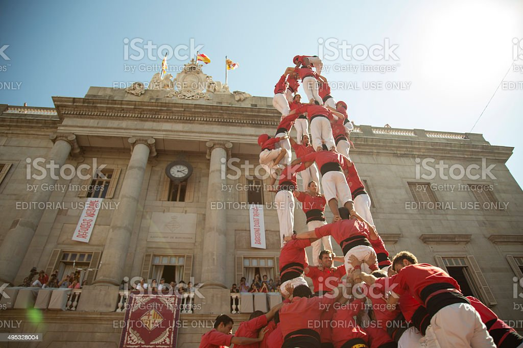Castelers at La Merce stock photo