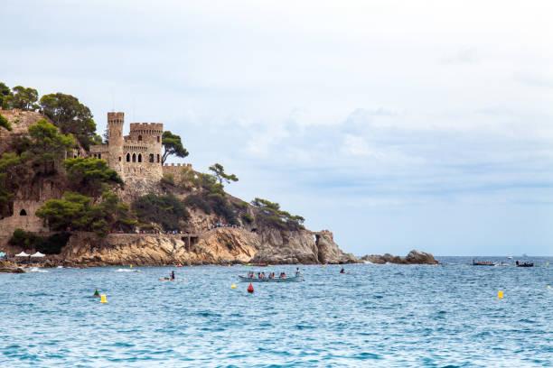 Castell d'en Plaja on the Costa Brava in Lloret de Mar, Spain. View of the Balearic Sea and the rocky coast. Popular tourist destination in Spain. – zdjęcie