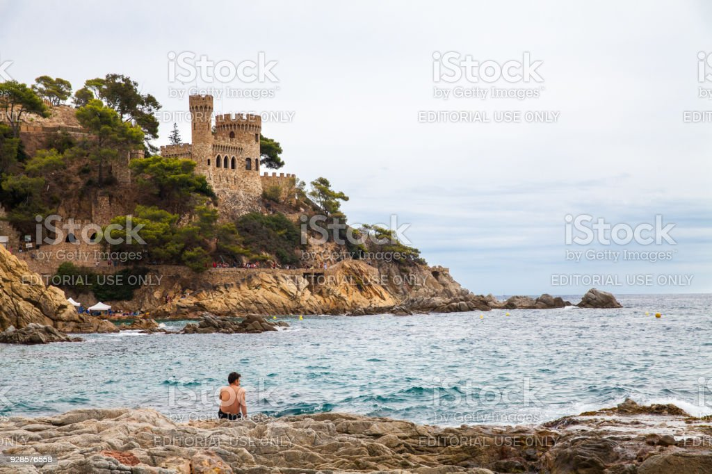 Castell d'en Plajan on the Costa Brava in Lloret de Mar, Spain. View of the Balearic Sea and the rocky coast. Popular tourist destination in Spain. – zdjęcie