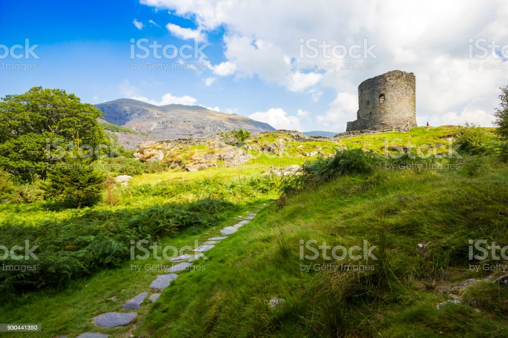 Castell (Castle) Dolbadarn in Snowdonia National Park, Wales, UK. stock photo