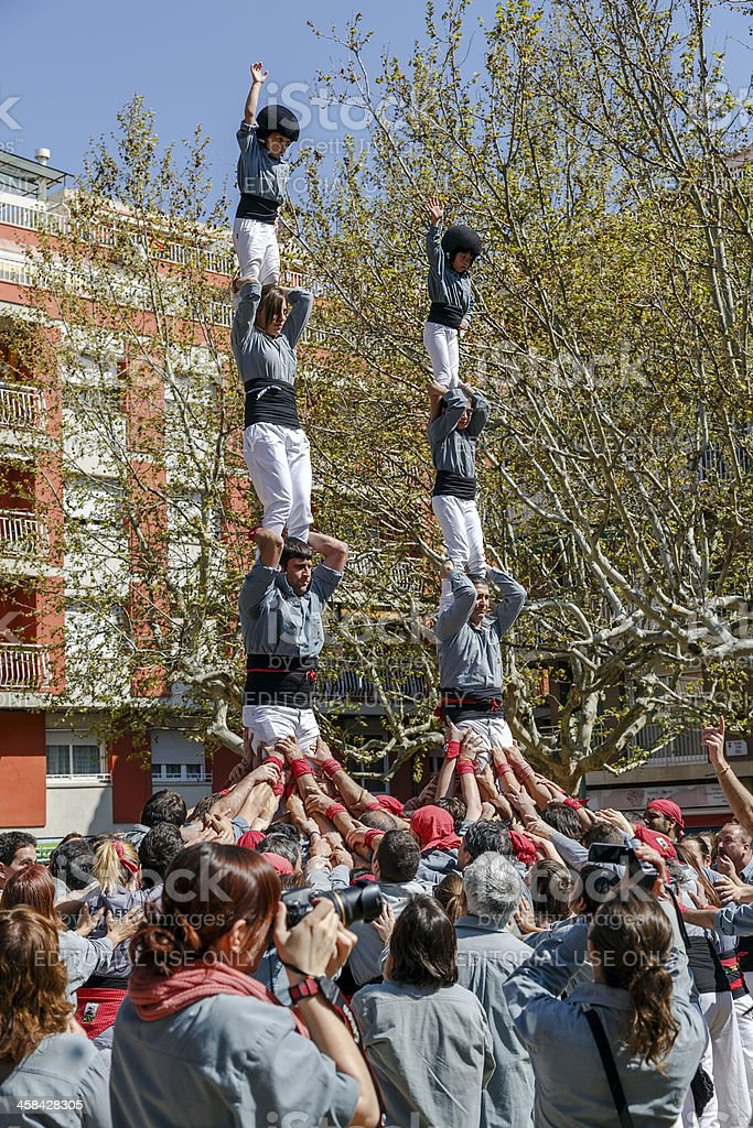 Castellers Sant Cugat 2013 royalty-free stock photo