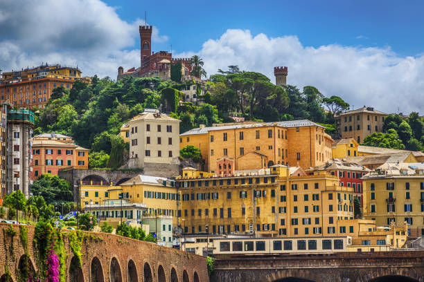 Castello d'Albertis castle in Genoa stock photo