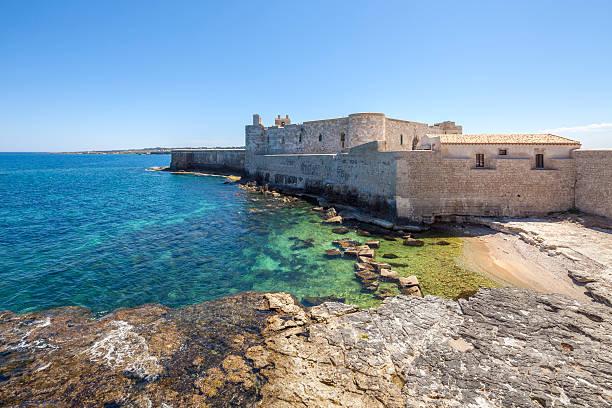 castello maniace, ortygia siragusa, sizilien, italien - ortygia stock-fotos und bilder
